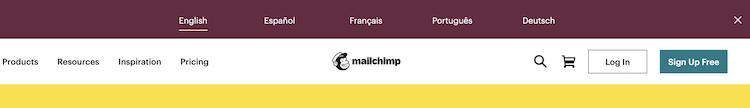 English、Español、Français、Português、Deutschの5言語のラベル