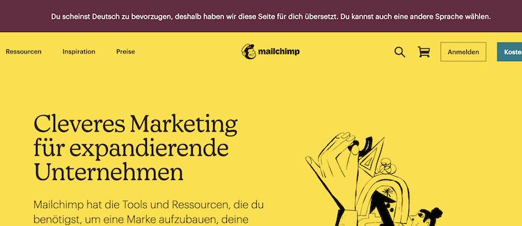 ドイツ向けサイトのヘッダー。ドイツ語でメッセージが書かれています