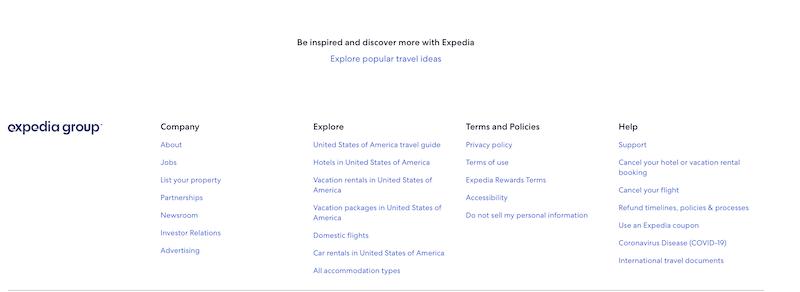 現在のExpediaのフッター