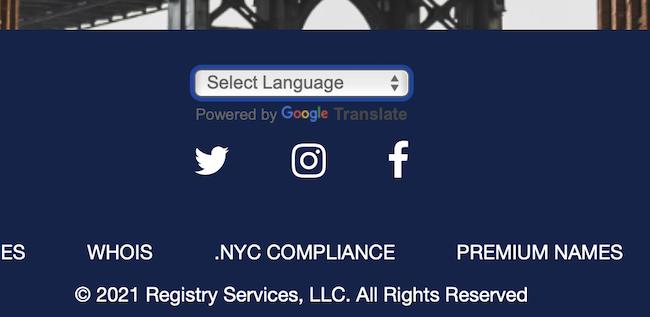NYCのサイトに見られるGoogle 翻訳ウィジェット