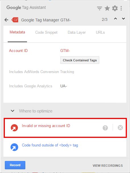 Google Tag Assistantの「Invalid or missing account ID」というアラートメッセージ