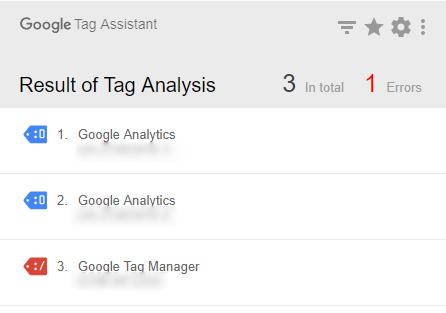 Tag Assistantのエラーメッセージ スクリーンショット